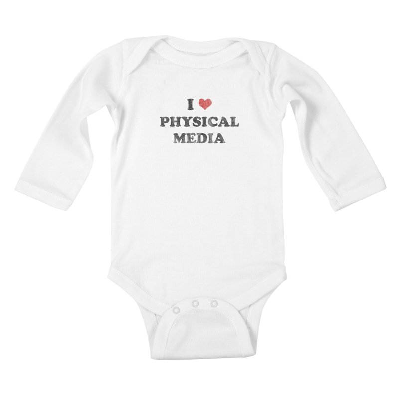I love physical media Kids Baby Longsleeve Bodysuit by Kate Gabrielle's Threadless Shop
