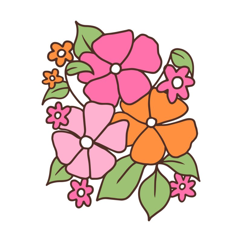 Retro floral in pink and orange by Kate Gabrielle's Threadless Shop