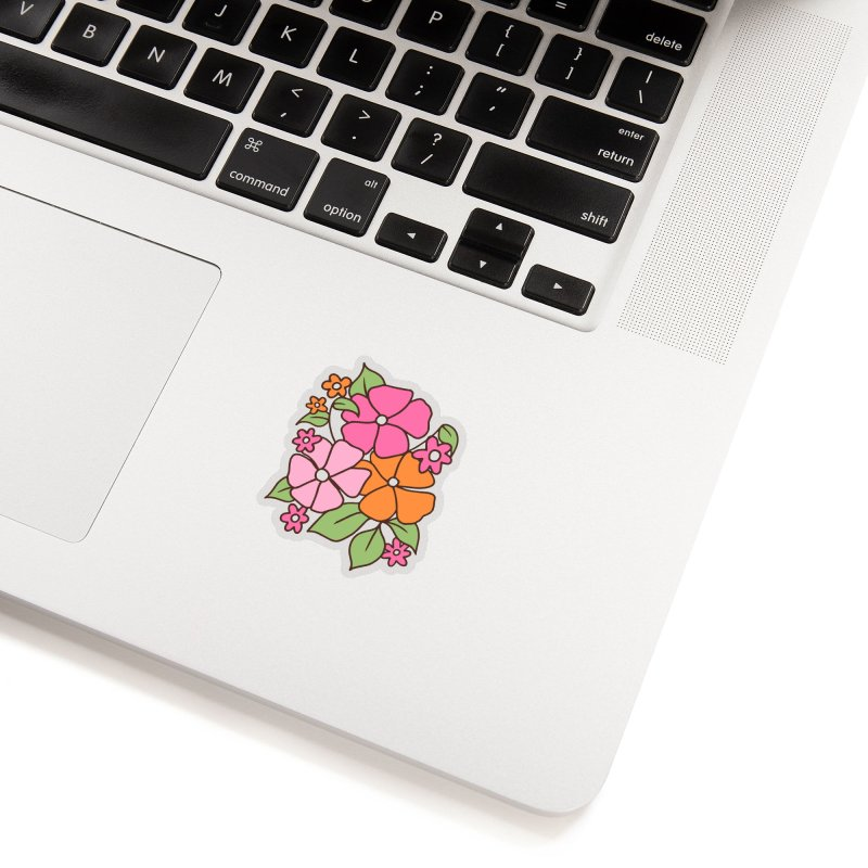 Retro floral in pink and orange Accessories Sticker by Kate Gabrielle's Threadless Shop