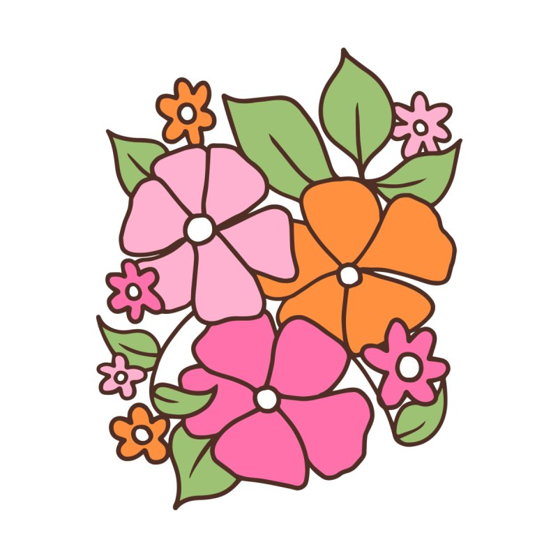 Retro floral in pink and orange (left in triptych) by Kate Gabrielle's Threadless Shop