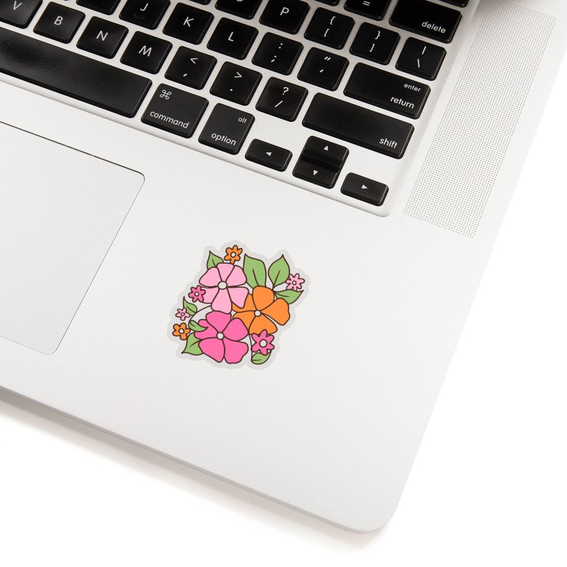 Retro floral in pink and orange (left in triptych) Accessories Sticker by Kate Gabrielle's Threadless Shop
