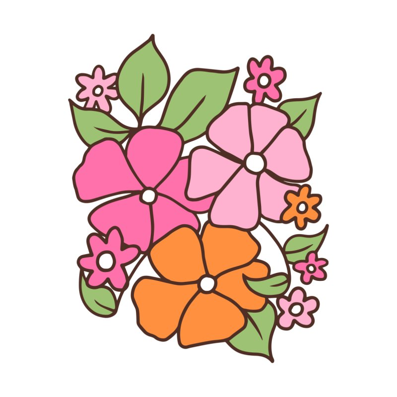 Retro floral in pink and orange (right in triptych) by Kate Gabrielle's Threadless Shop
