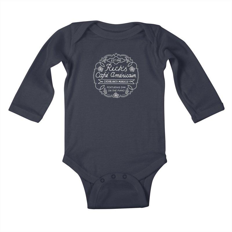 Rick's Cafe Kids Baby Longsleeve Bodysuit by Kate Gabrielle's Threadless Shop