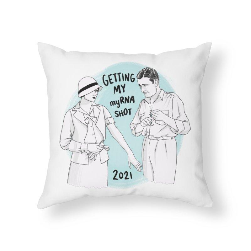 Getting my myRNA shot Home Throw Pillow by Kate Gabrielle's Threadless Shop