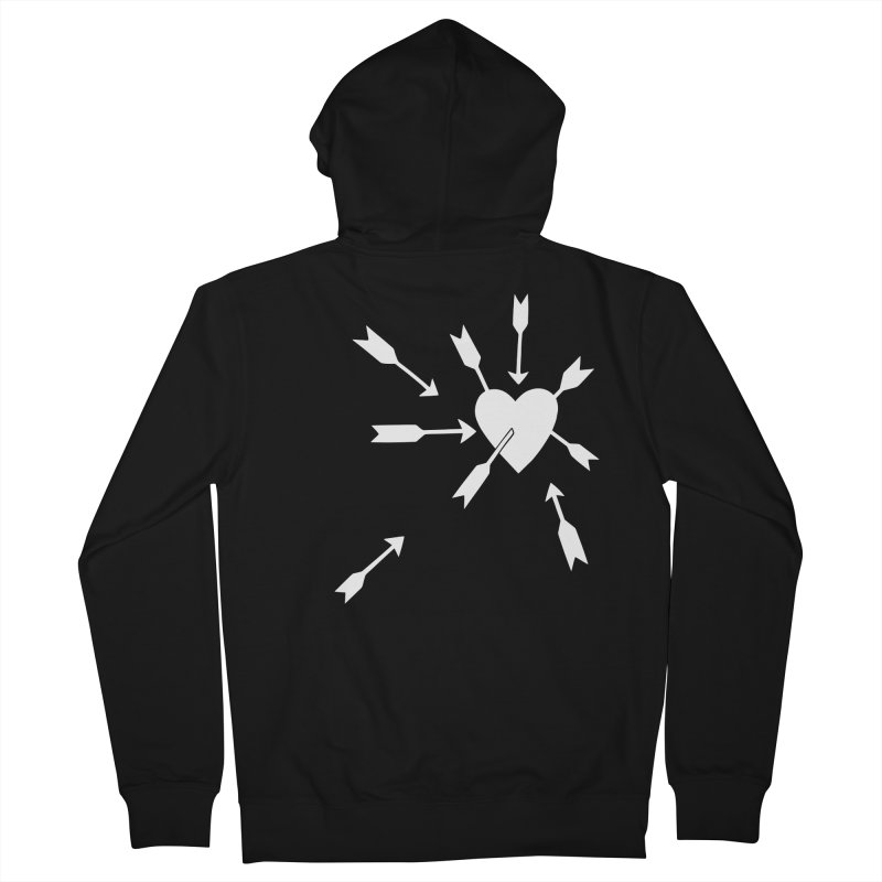 Carefree (black & white) Women's French Terry Zip-Up Hoody by Kate Gabrielle's Artist Shop