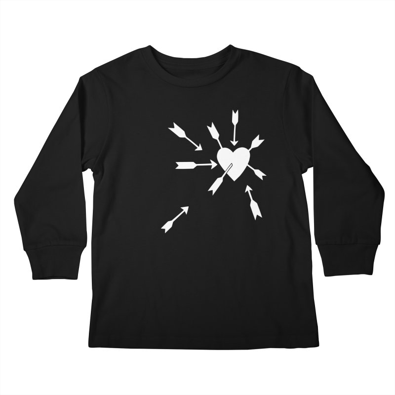 Carefree (black & white) Kids Longsleeve T-Shirt by Kate Gabrielle's Artist Shop