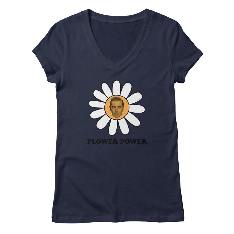 Flower Power Women's Regular V-Neck by Kate Gabrielle's Artist Shop