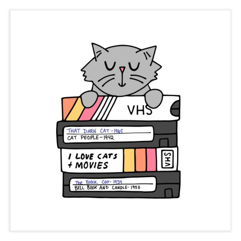 Cats and movies Home Fine Art Print by Kate Gabrielle's Artist Shop