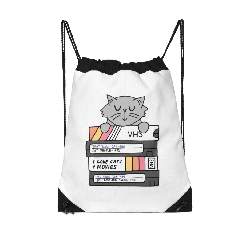 Cats and movies Accessories Drawstring Bag Bag by Kate Gabrielle's Artist Shop