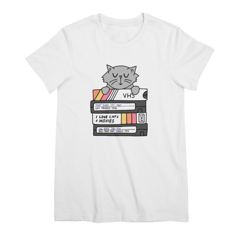 Cats and movies Women's Premium T-Shirt by Kate Gabrielle's Artist Shop