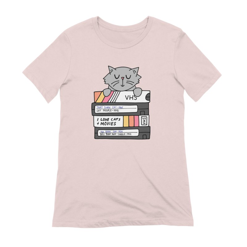 Cats and movies Women's Extra Soft T-Shirt by Kate Gabrielle's Artist Shop