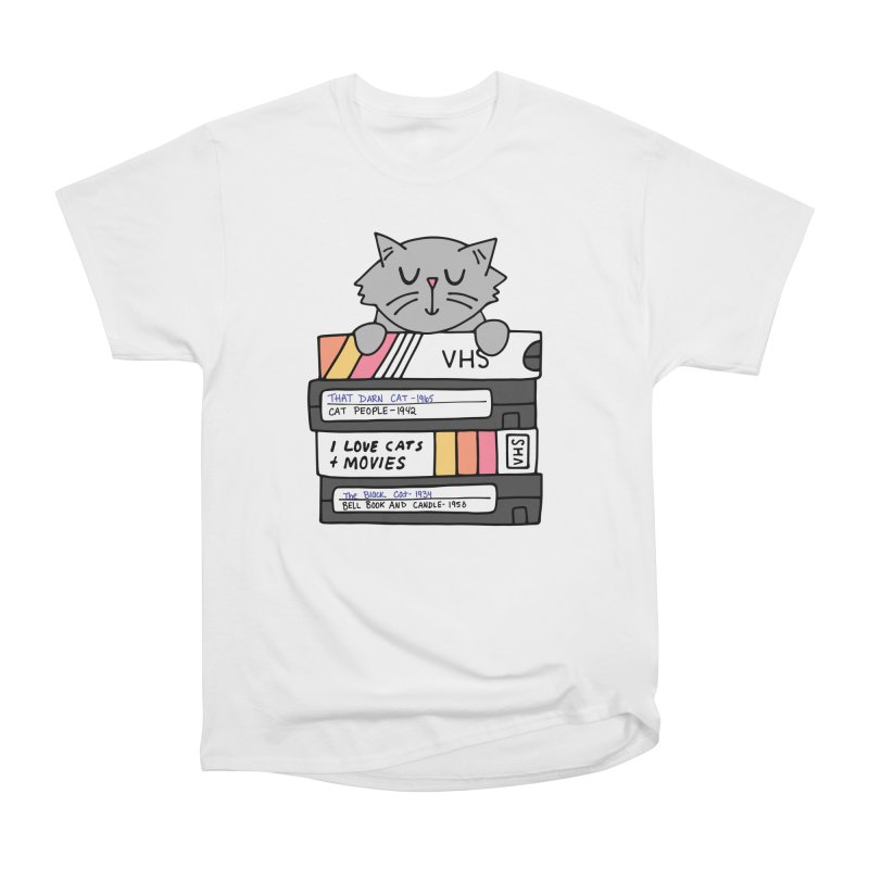 Cats and movies Women's Heavyweight Unisex T-Shirt by Kate Gabrielle's Artist Shop