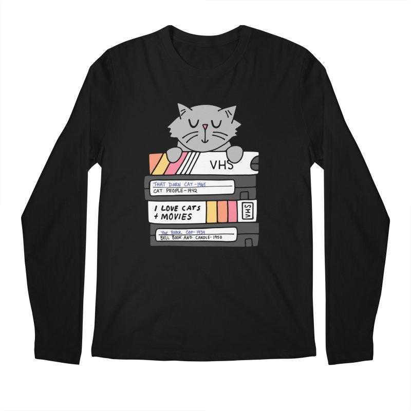 Cats and movies Men's Regular Longsleeve T-Shirt by Kate Gabrielle's Artist Shop