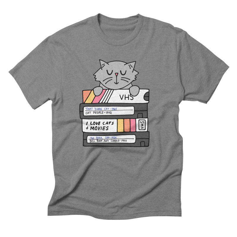 Cats and movies Men's Triblend T-Shirt by Kate Gabrielle's Artist Shop