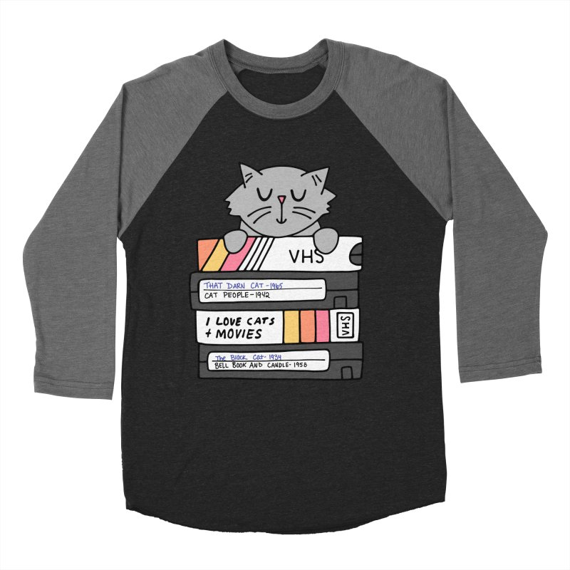 Cats and movies Men's Baseball Triblend Longsleeve T-Shirt by Kate Gabrielle's Artist Shop