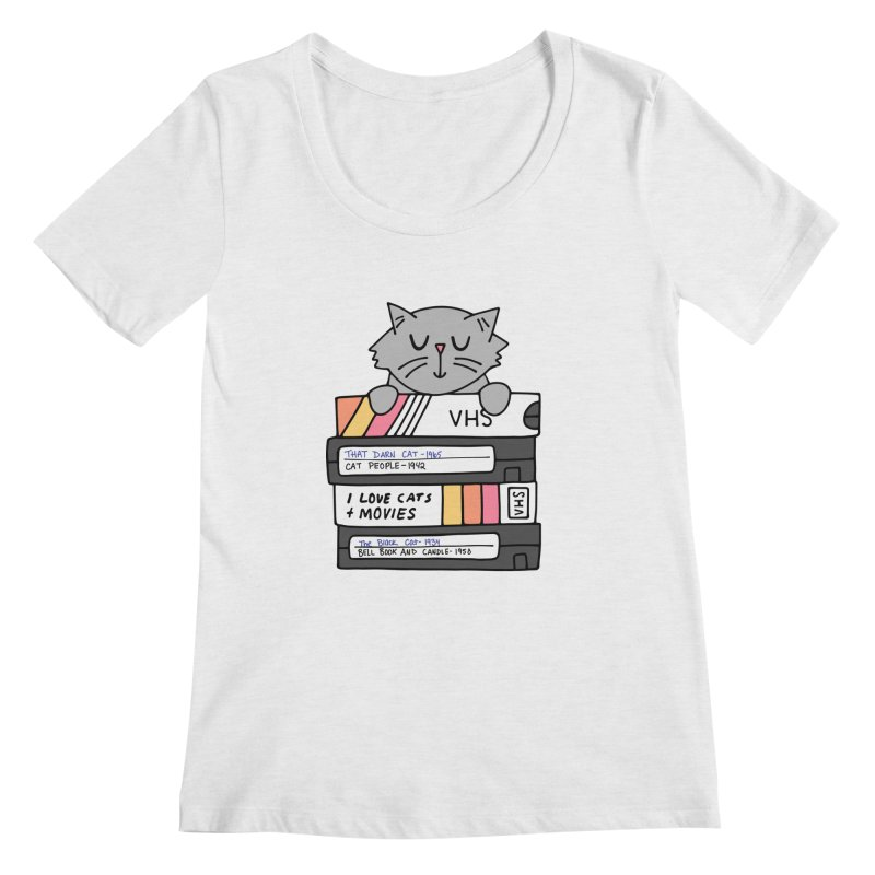 Cats and movies Women's Regular Scoop Neck by Kate Gabrielle's Artist Shop