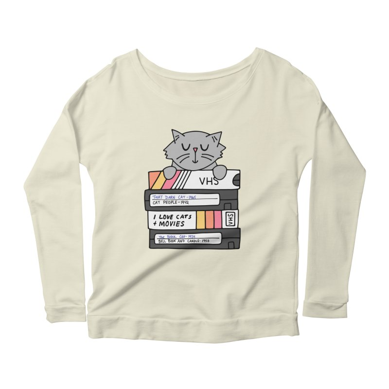 Cats and movies Women's Scoop Neck Longsleeve T-Shirt by Kate Gabrielle's Artist Shop