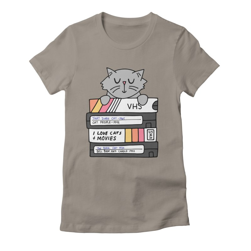 Cats and movies Women's Fitted T-Shirt by Kate Gabrielle's Artist Shop