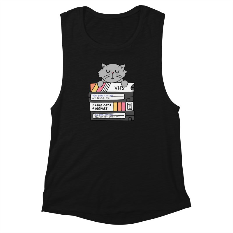 Cats and movies Women's Muscle Tank by Kate Gabrielle's Artist Shop