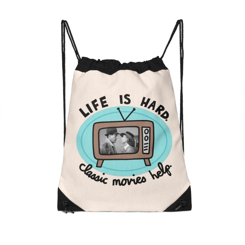 Life is hard. Classic movies help. Accessories Drawstring Bag Bag by Kate Gabrielle's Artist Shop