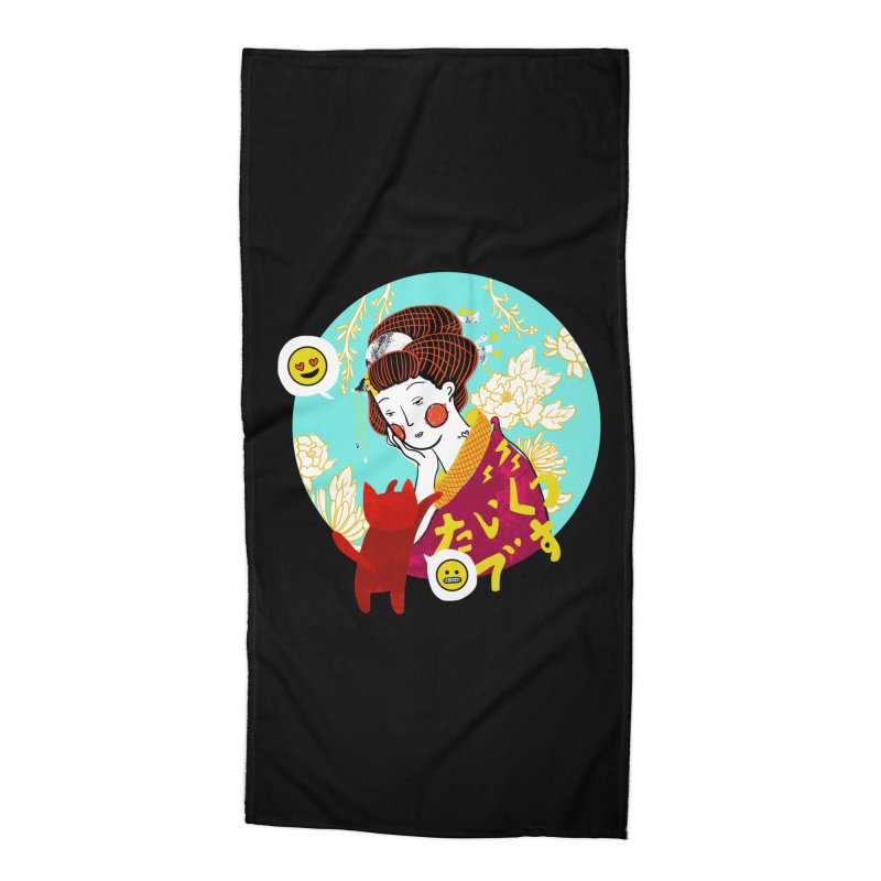 Cat Lady Accessories Beach Towel by katherineliu's Artist Shop