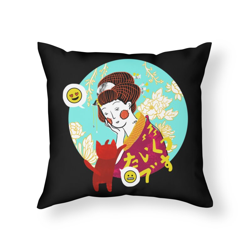 Cat Lady Home Throw Pillow by katherineliu's Artist Shop