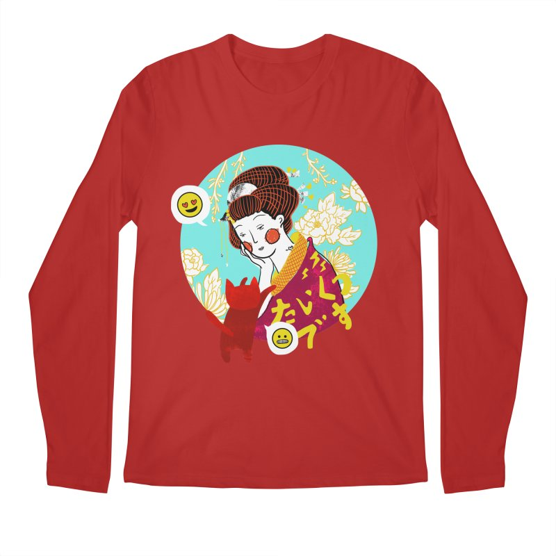 Cat Lady Men's Longsleeve T-Shirt by katherineliu's Artist Shop