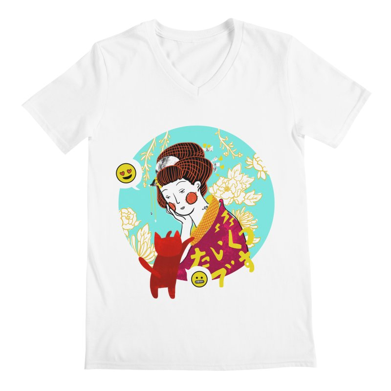 Cat Lady Men's V-Neck by katherineliu's Artist Shop