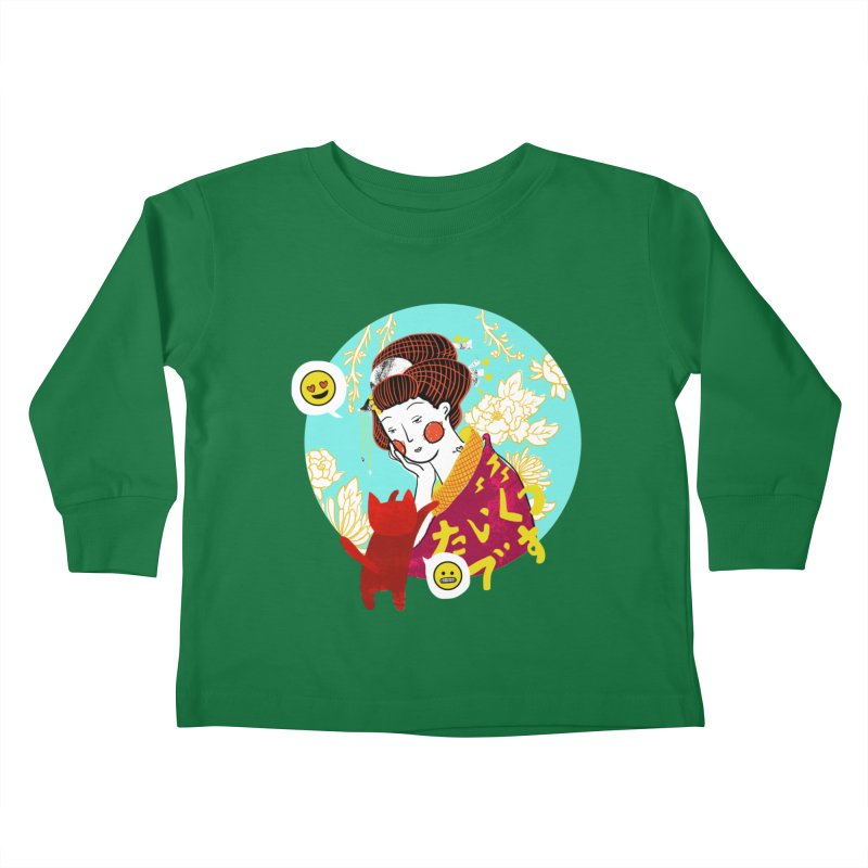 Cat Lady Kids Toddler Longsleeve T-Shirt by katherineliu's Artist Shop