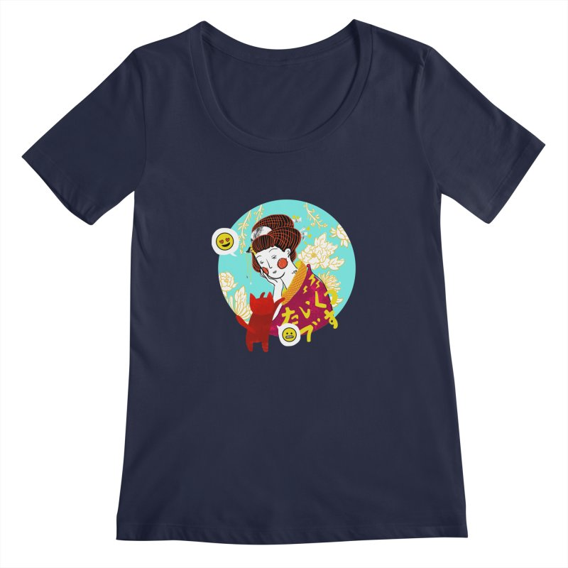 Cat Lady Women's Scoopneck by katherineliu's Artist Shop
