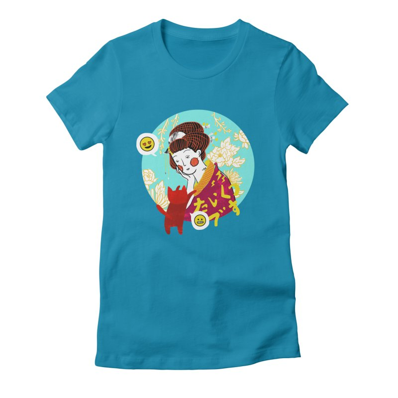 Cat Lady Women's Fitted T-Shirt by katherineliu's Artist Shop