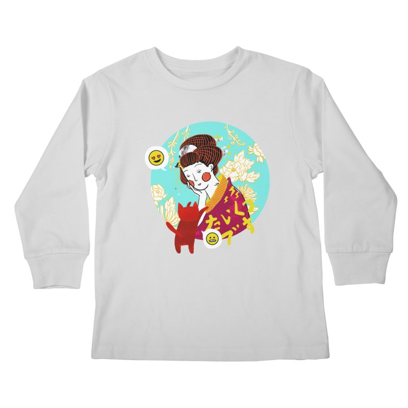 Cat Lady Kids Longsleeve T-Shirt by katherineliu's Artist Shop