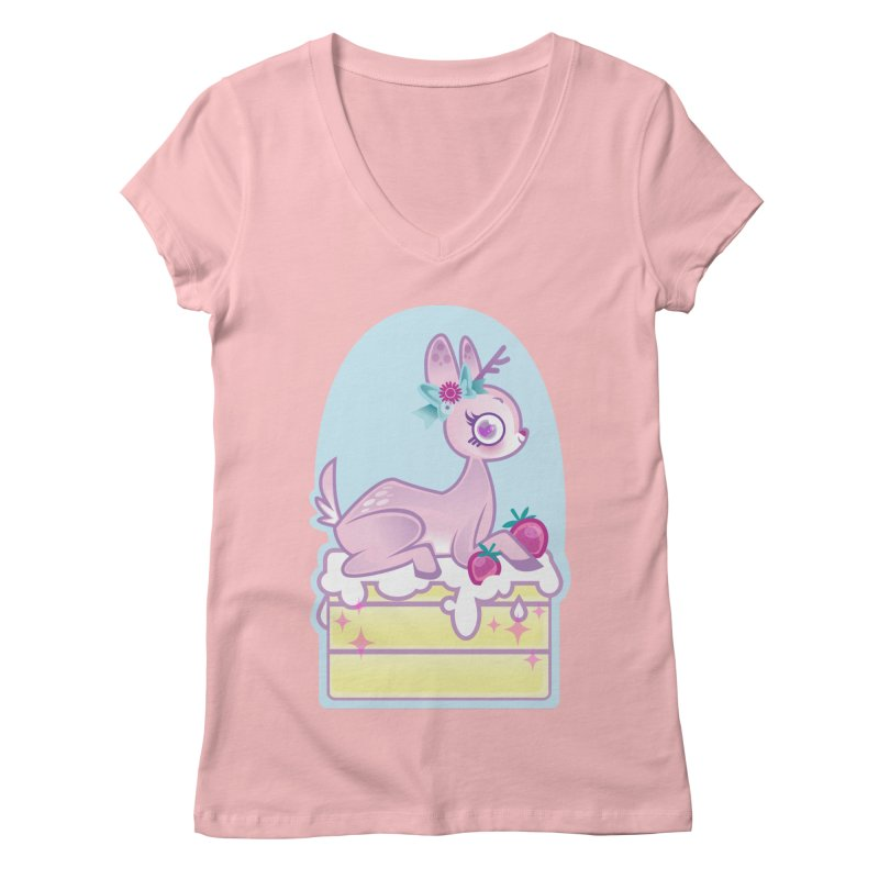 Deery Cake Women's Regular V-Neck by kathudsonart's Artist Shop