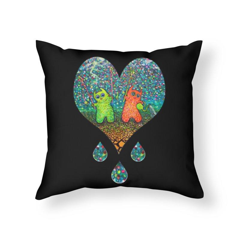 Rain Dance Heart Home Throw Pillow by Katia Goa's Artist Shop