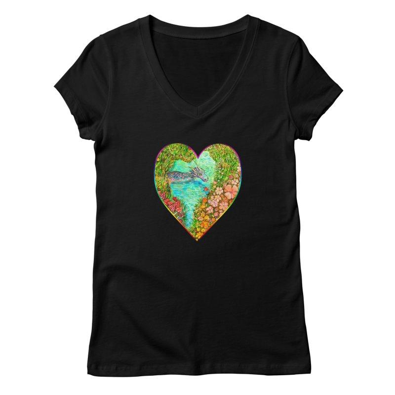 Dragon Heart Women's V-Neck by Katia Goa's Artist Shop