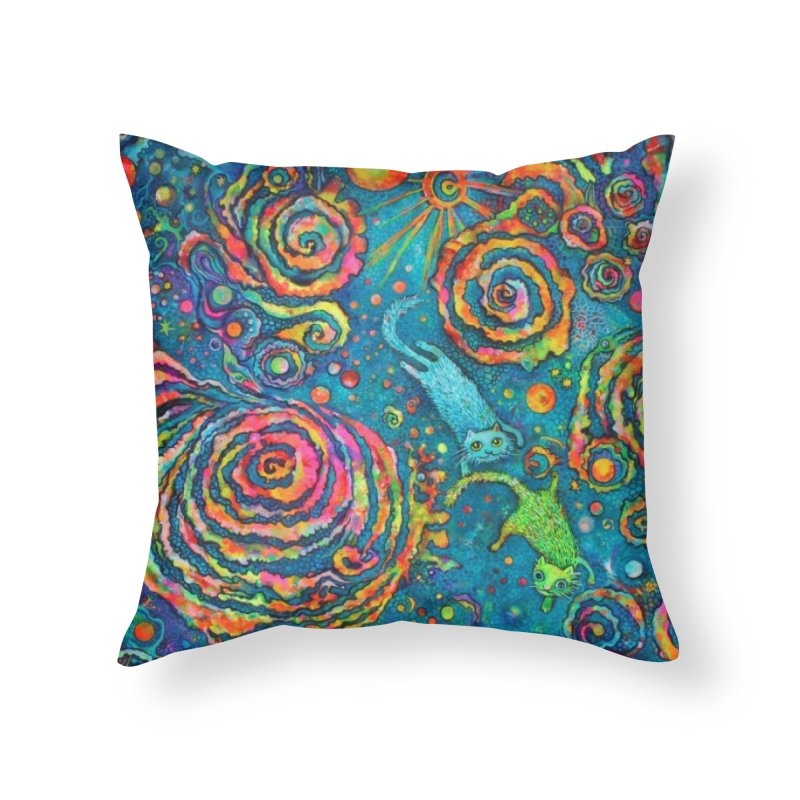 Space Cats Home Throw Pillow by Katia Goa's Artist Shop