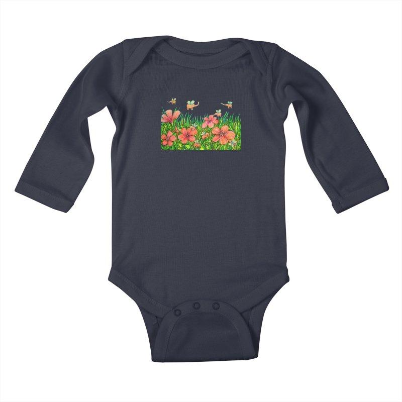 Warm Buzz / Elephant Party Kids Baby Longsleeve Bodysuit by Katia Goa's Artist Shop