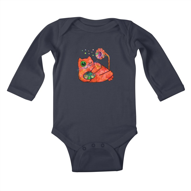 """This Song is for you"" Dj Fat Cat Kids Baby Longsleeve Bodysuit by Katia Goa's Artist Shop"