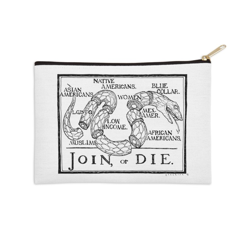 Join, or Die Accessories Zip Pouch by Katiecrimespree's Ye Olde Shirt Shoppe
