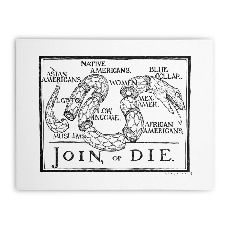 Join, or Die Home Stretched Canvas by Katiecrimespree's Ye Olde Shirt Shoppe
