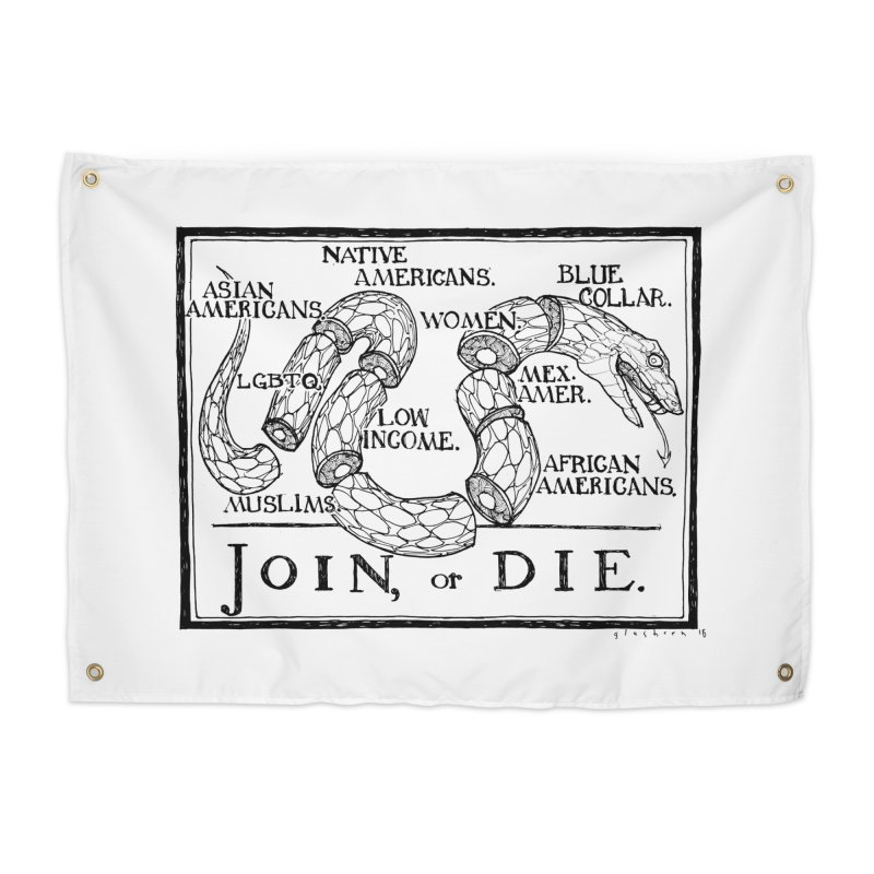 Join, or Die Home Tapestry by Katiecrimespree's Ye Olde Shirt Shoppe