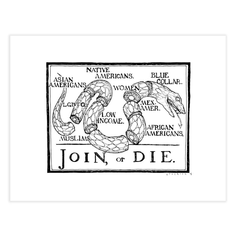 Join, or Die Home Fine Art Print by Katiecrimespree's Ye Olde Shirt Shoppe