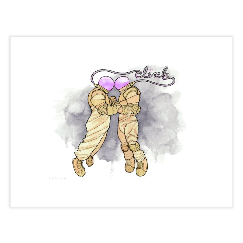 Astronaut Kiss [CLINK] Home Fine Art Print by Katiecrimespree's Ye Olde Shirt Shoppe
