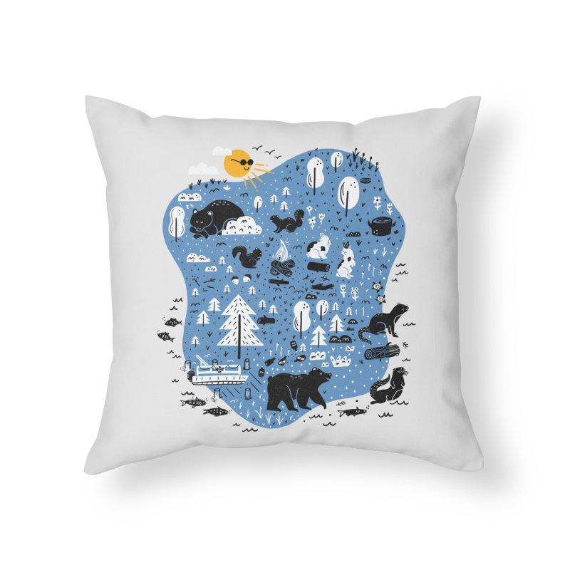 Mountain Island Lake Home Throw Pillow by Katie Lukes