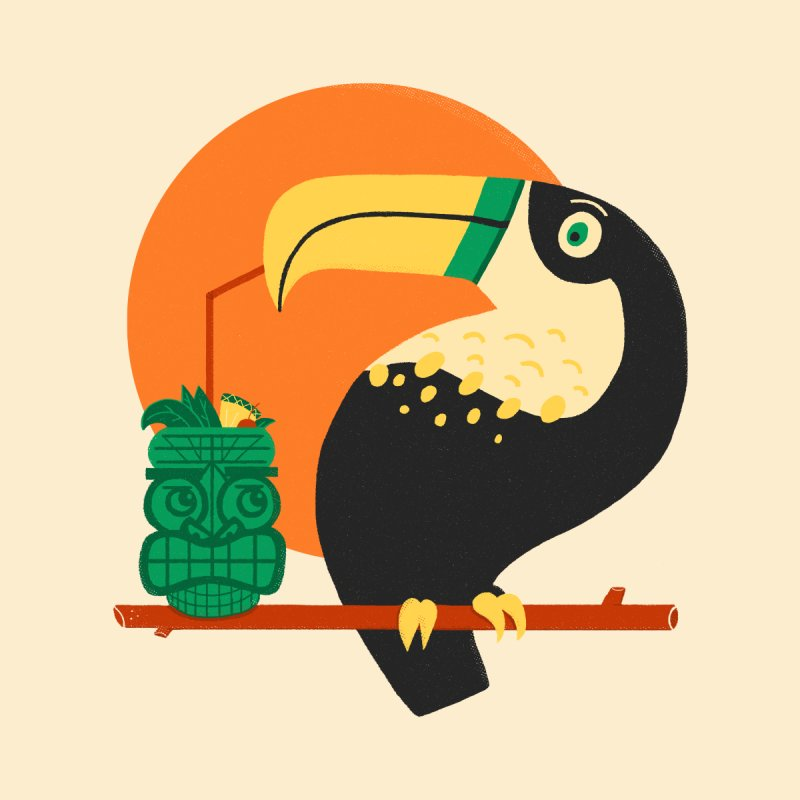 Drunk Toucan Men's T-Shirt by Katie Lukes