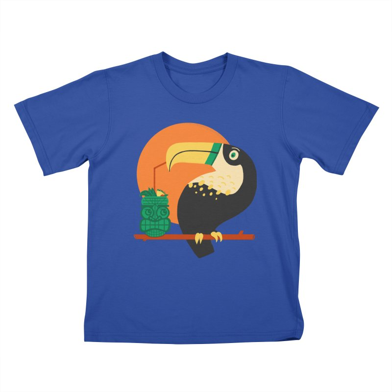 Drunk Toucan Kids T-Shirt by Katie Lukes
