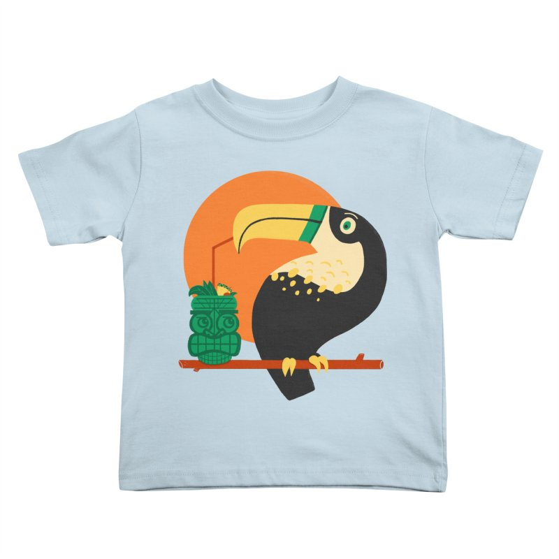 Drunk Toucan Kids Toddler T-Shirt by Katie Lukes