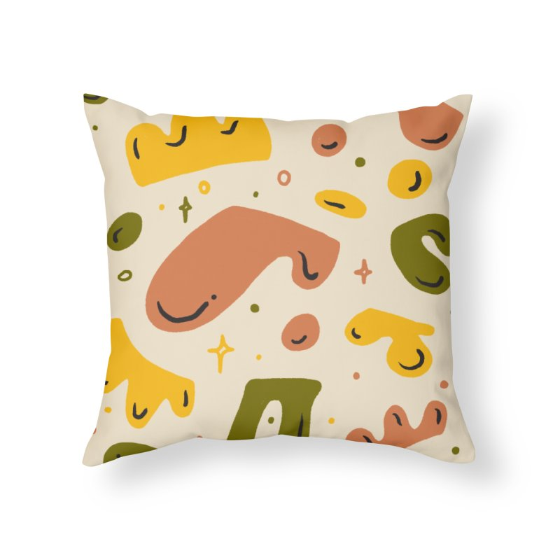 Blob Party Home Throw Pillow by Katie Lukes