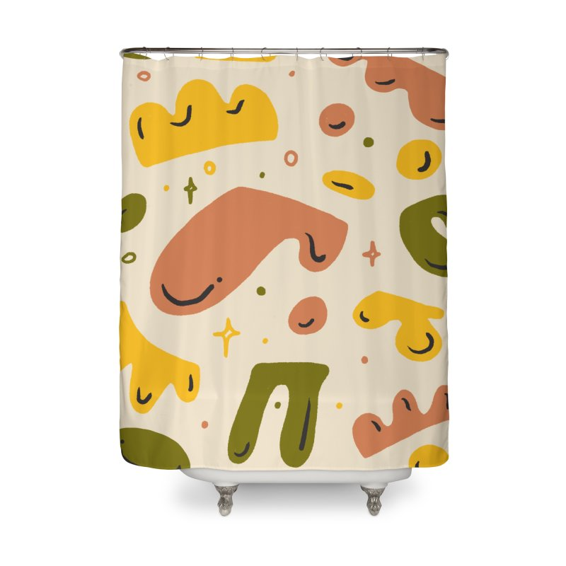 Blob Party Home Shower Curtain by Katie Lukes