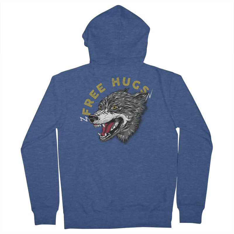 FREE HUGS Men's French Terry Zip-Up Hoody by Katie Rose's Artist Shop